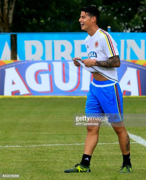 Colombia's midfielder James Rodriguez takes part in a training session in Barranquilla on August 28 2017 ahead of their FIFA World Cup Russia 2018...