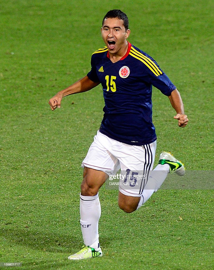 Colombia's midfielder Juan Nieto celebrates after he scored against Ecuador during their South American U-20 final round football match at Malvinas Argentinas stadium in Mendoza, Argentina, on January 20, 2013. Four teams will qualify for the FIFA U-20 World Cup Turkey 2013.