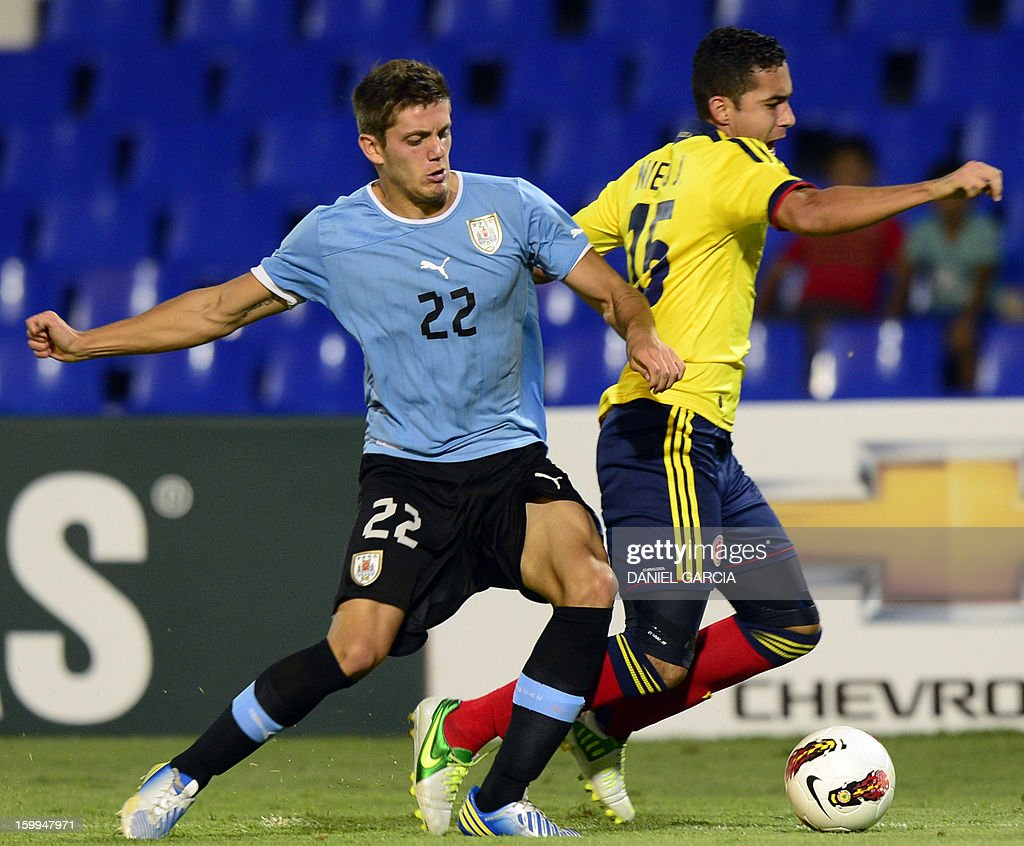 Colombia's midfielder Juan Nieto vies for the ball with Uruguay's defender Maximiliano Amondarain during their South American U-20 final round football match at Malvinas Argentinas stadium in Mendoza, Argentina, on January 23, 2013. Four South American teams will qualify for the FIFA U-20 World Cup Turkey 2013.