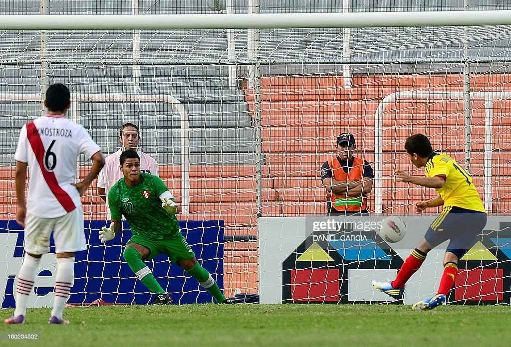 Colombia's midfielder Juan Quintero (R) kicks the ball to score past Peru's goalkeeper Angelo Campos during their South American U-20 final round football match at Malvinas Argentinas stadium in Mendoza, Argentina, on January 27, 2013. Four South American teams will qualify for the FIFA U-20 World Cup Turkey 2013.