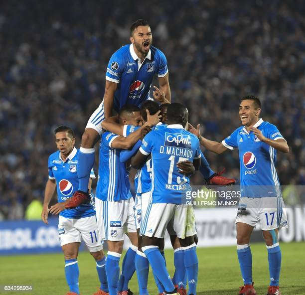 Colombia's Millonarios player Maximiliano Núñez celebrates after scoring against Brazil´s Atletico Paranaense during the Copa Libertadores 2017...