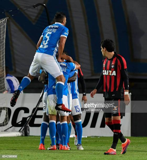 Colombia's Millonarios players celebrate after scoring against Brazil´s Atletico Paranaense during the Copa Libertadores 2017 football match at the...