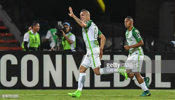 Colombia's Nacional Mateus Uribe celebrates after scoring against Argentina's Estudiantes de la Plata during their Copa Libertadores 2017 football...