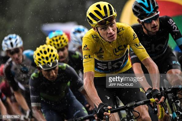 Colombia's Nairo Quintana Great Britain's Christopher Froome wearing the overall leader's yellow jersey and Netherlands' Wouter Poels ride in the...