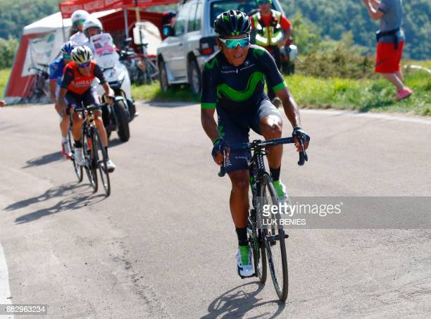 Colombia's Nairo Quintana of team Movistar competes with Italy's rider of team Bahrain Merida Vincenzo Nibali and France's Thibaut Pinot during the...