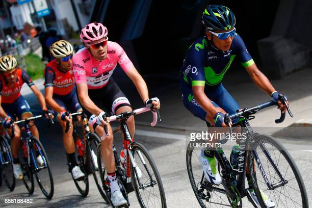 Colombia's Nairo Quintana of team Movistar rides ahead Netherlands' Tom Dumoulin of team Sunweb and Italy's rider of team Bahrain Merida Vincenzo...