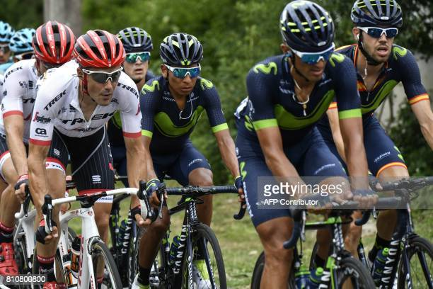 Colombia's Nairo Quintana rides behind his teammates Spain's Jesus Herrada and Italy's Daniele Bennati the 1875 km eighth stage of the 104th edition...