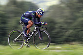 Colombia's Nairo Quintana rides during the 17 km individual timetrial the eighteenth stage of the 103rd edition of the Tour de France cycling race on...
