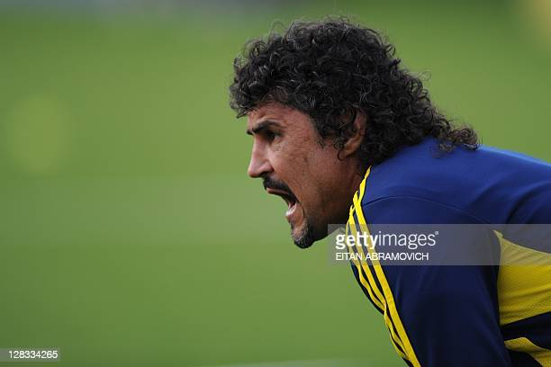 Colombia's national football team coach Leonel Alvarez commands a training session in Bogota on October 6 2011 Colombia will face Bolivia on October...