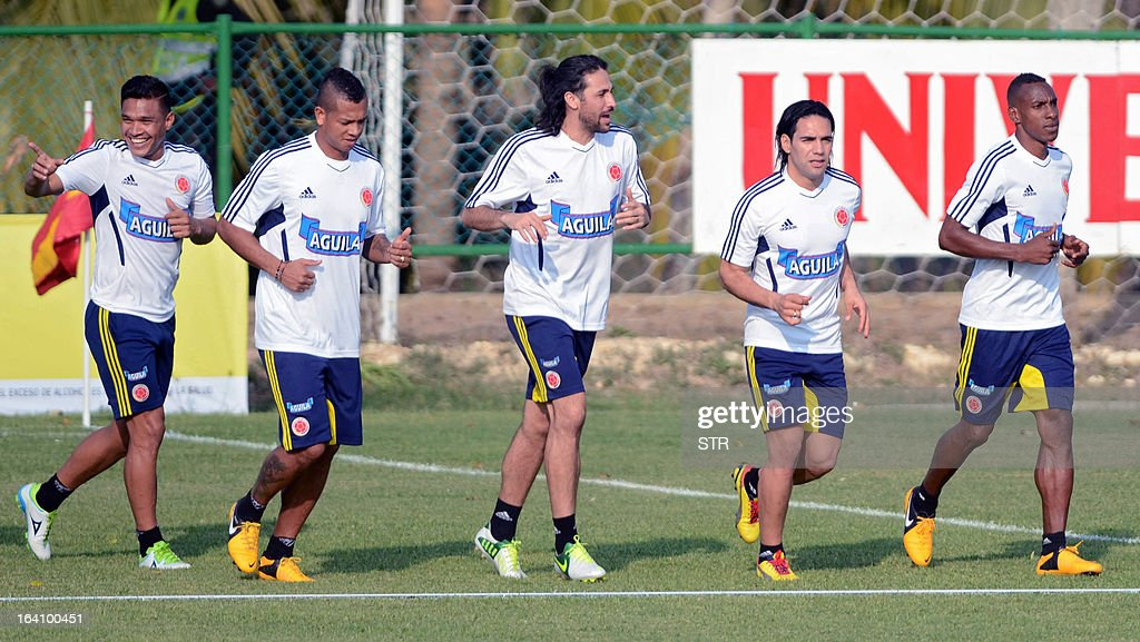 Colombia's national football team trains in Barranquilla, Colombia on March 19, 2013. Colombia will face Bolivia on March 22 and Venezuela on March 26 in FIFA World Cup Brazil 2014 South American qualifier matches.