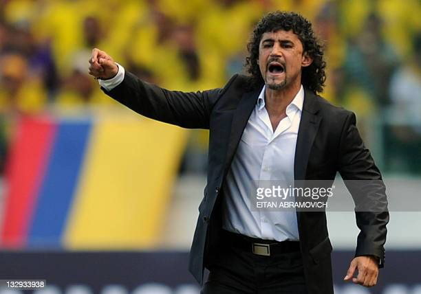 Colombia's national team coach Leonel Alvarez gives instructions to his players during the Brazil 2014 FIFA World Cup South American qualifier match...