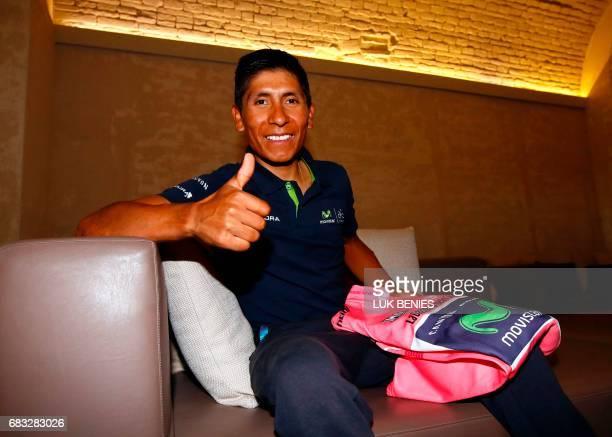 Colombia's pink jersey Nairo Quintana of the Movistar Team poses during the 2nd rest day of the 100th Giro d'Italia Tour of Italy on May 15 2017 in...