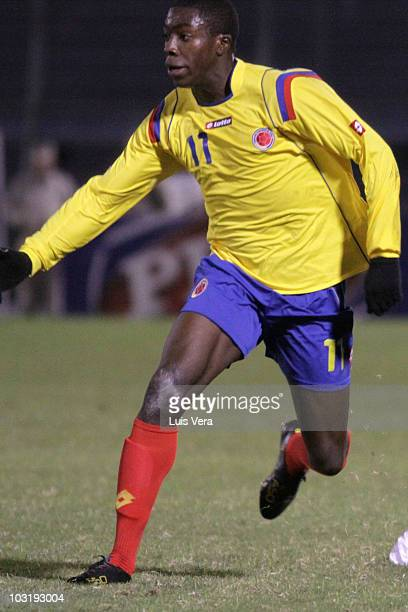 Colombias player Adolfo Valencia in action during the match against Argentina as part of the Mc Donalds Under 20 Latin American Cup at Cerro Porteno...