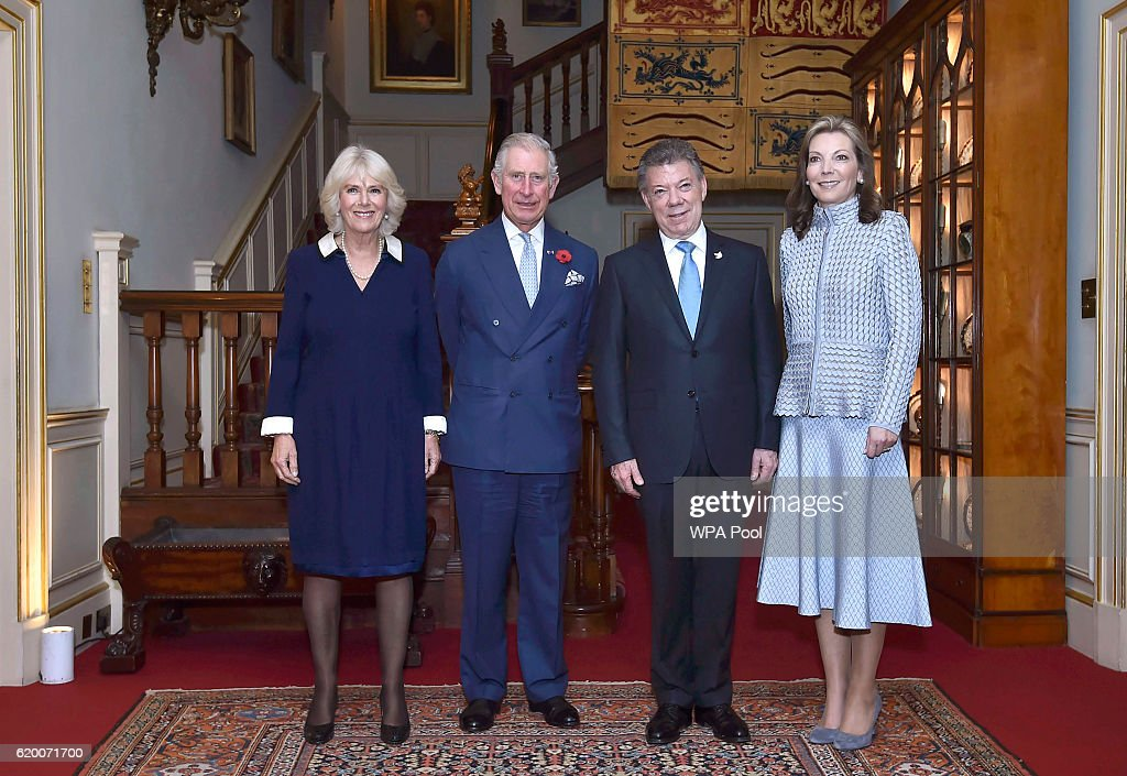 Colombia's President Juan Manuel Santos and his wife Maria Clemencia de Santos pose for photographs with Britain's Prince Charles, Prince of Wales and Camilla, Duchess of Cornwall at Clarence House on November 1, 2016 in London, England. The President of the Republic of Colombia Juan Manuel Santos and his wife Maria Clemencia Rodriguez de Santos are paying their first State Visit to the UK as official guests of Queen Elizabeth