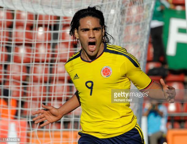 Colombia's Radamel Falcao celebrate a score goal against Bolivia during a match between Colombia and Bolivia as part of the Group A at Brigadier...