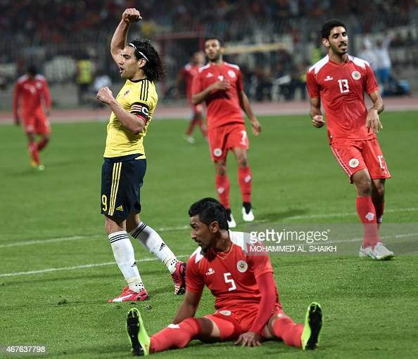 Colombia's Radamel Falcao celebrates after scoring a goal during the friendly football match between Bahrain and Colombia at the Bahraini National...