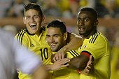Colombia's Radamel Falcao celebrates after scoring against Costa Rica during a friendly football match in preparation for the Copa America 2015 at...