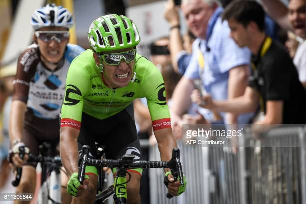 Colombia's Rigoberto Uran crosses the finish line ahead of France's Romain Bardet at the end of the 1815 km ninth stage of the 104th edition of the...