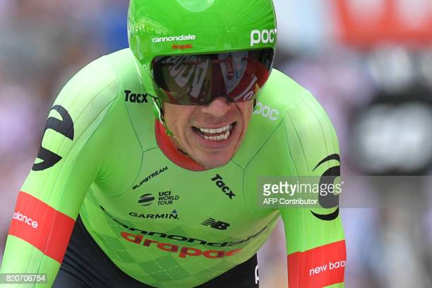Colombia's Rigoberto Uran crosses the finish line at the Velodrome stadium at the end of a 225 km individual timetrial the twentieth stage of the...