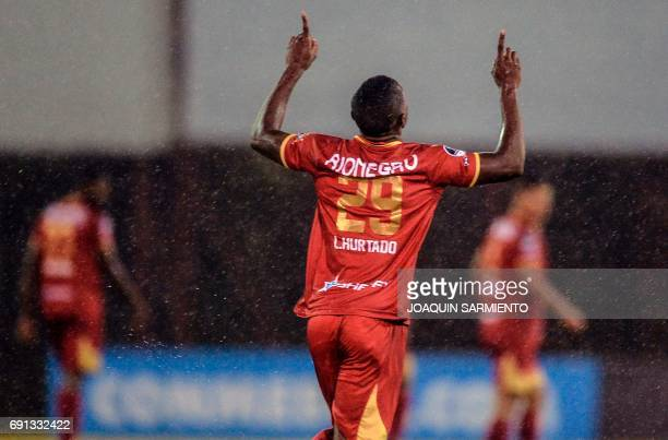 Colombia´s Rionegro Aguilas player Luis Hurtado celebrates after scoring against Argentina's Racing during their 2017 Copa Sudamericana football...