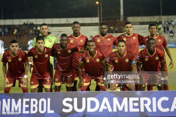Colombia´s Rionegro Aguilas players pose during their 2017 Copa Sudamericana football match against Argentina's Racing at Alberto Gripales stadium in...