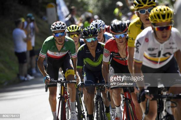 Colombia's Sergio Henao Great Britain's Geraint Thomas wearing the overall leader's yellow jersey Australia's Richie Porte France's Romain Bardet...