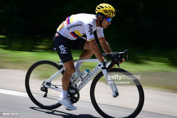 Colombia's Sergio Henao rides during the 216 km sixth stage of the 104th edition of the Tour de France cycling race on July 6 2017 between Vesoul and...