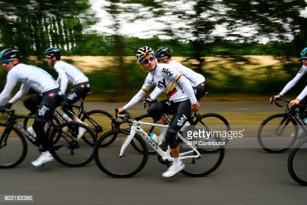 Colombia's Sergio Henao takes part in a training session of the Great Britain's Sky cycling team in Dusseldorf Germany on June 29 two days before the...