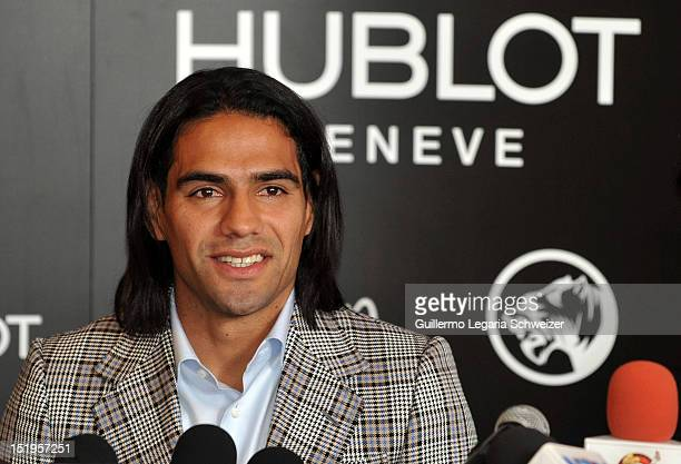 Colombia's soccer player Radamel Falcao Garcia smiles during a press conference to announc his support for the foundation Futbol Con Corazon on...