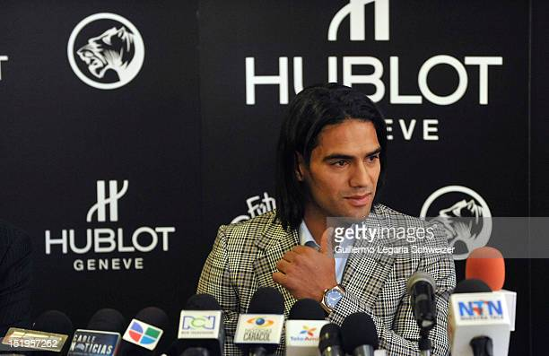 Colombia's soccer player Radamel Falcao Garcia talks during a press conference to announc his support for the foundation Futbol Con Corazon on...