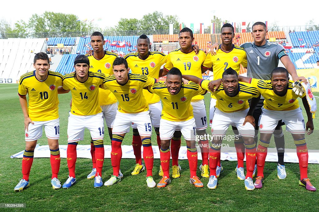 Colombia's U20 football team during their South American U-20 final round football match at Malvinas Argentinas stadium in Mendoza, Argentina, on January 30, 2013. Four teams will qualify for the FIFA U-20 World Cup Turkey 2013.