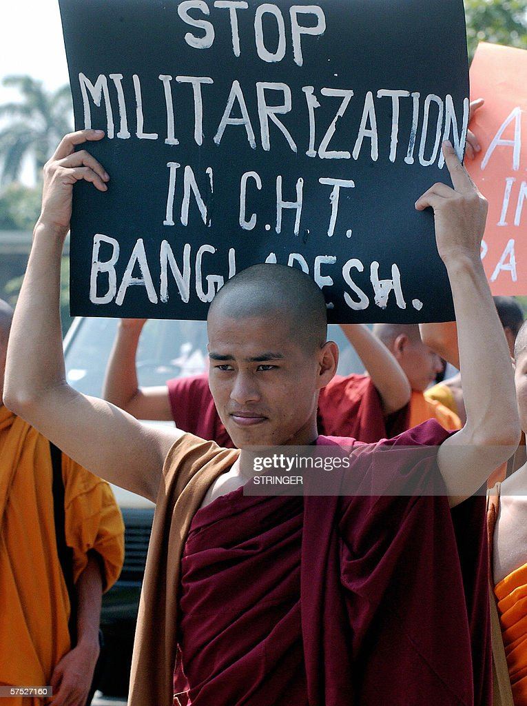 Bangladesh Chittagong Hill Buddhist monks march to the Bangladesh ambassy in Colombo 04 May 2006 to protest against the alleged harassement of...