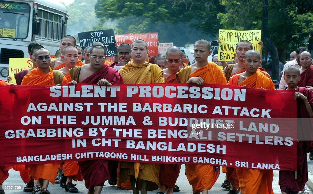 Bangladesh Chittagong Hill Buddhist monks march to the Bangladesh ambassy in Colombo 04 May 2006 to protest against alleged harassement of Buddhists...