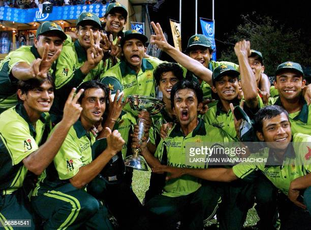 Pakistani cricketers pose with the trophy after their victory during the ICC Under19 World Cup Final match between India and Pakistan at R Pemadasa...