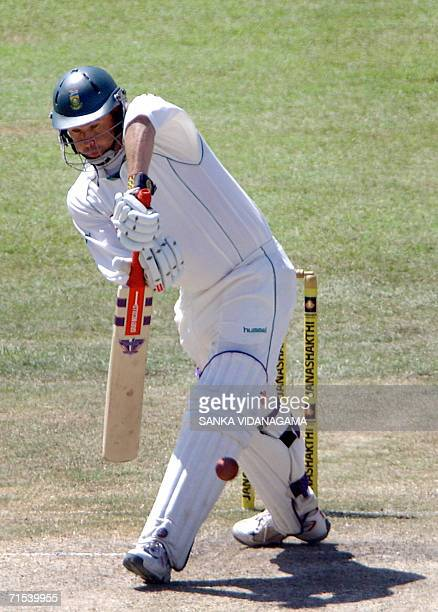 South African cricketer Andrew Hall plays a shot during the fourth day of first Test match between Sri Lanka and South Affrica at the Sinhalese...