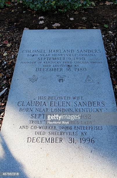 Colonel Harland Sanders founder of Kentucky Fried Chicken and his wife Claudia Ellen Sanders gravesite markers at Cave Hill Cemetery on October 04...
