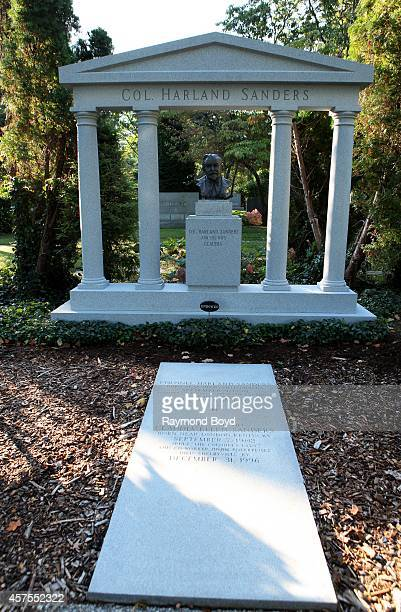 Colonel Harland Sanders founder of Kentucky Fried Chicken's gravesite at Cave Hill Cemetery on October 04 2014 in Louisville Kentucky