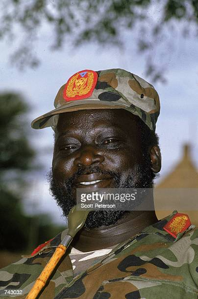 Colonel John Garang leader of the Sudanese Peoples Liberation Army poses for a portrait at a rebel encampment April 1992 near Kapoeta Sudan The SPLA...