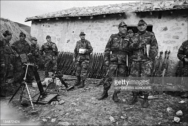 Colonel Marcel Bigeard right with his paratrooper unit during 'Operation Bigeard'in March 1956 when an armed outbreak in SoukAhras South of...