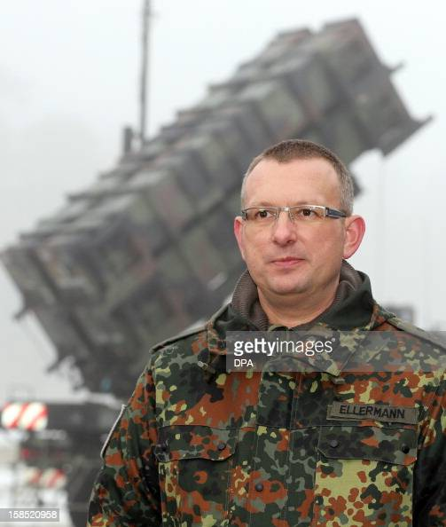 Colonel Marcus Ellermann chief of the German contingent of the 'Patriot' surfacetoair missile system in Turkey is pictured during a media day of the...