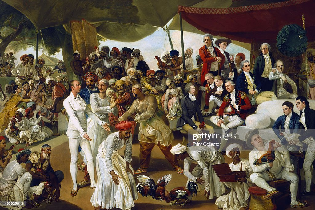 'Colonel Mordaunt watching a cock fight at Lucknow' India 1790 In an opensided tent East India Company officers and administrators sit and stand...