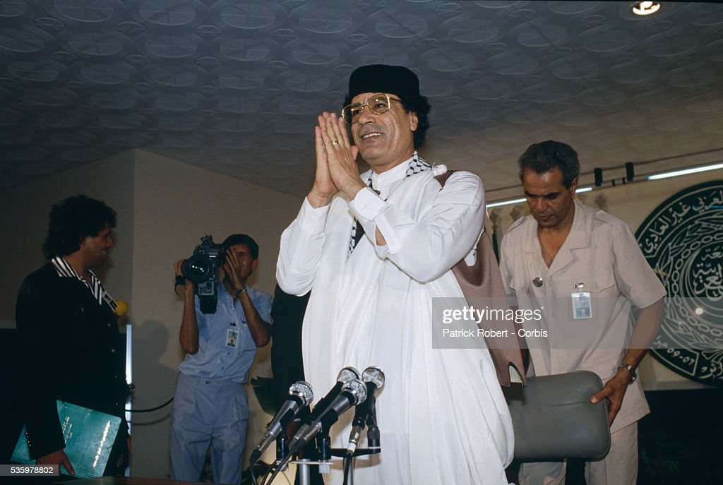 Colonel Muammar al-Qaddafi, Libyan head of state, speaks to the press at the close of the Algiers Summit, during which Arab leaders pledged major cash contributions of $10 million per month, to be administered by the Palestine Liberation Organization, to the Palestinian uprising. The summit initially convened to decide handing leadership of the AMU to Qaddafi and amending the constitution to make it possible for decisions to be taken by majority vote in order to avoid the deadlock. The Algiers Summit was the first North African summit to include political leaders from Morocco, Algeria, Tunisia, Libya, and Mauritania.