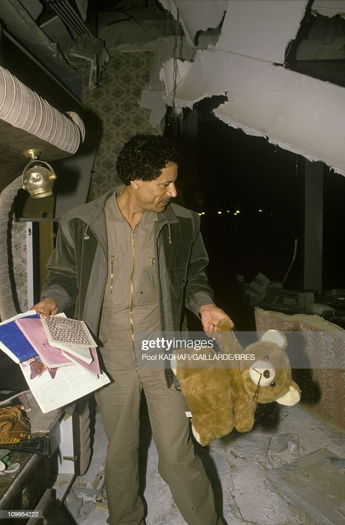 Colonel <a gi-track='captionPersonalityLinkClicked' href=/galleries/search?phrase=Muammar+Gaddafi&family=editorial&specificpeople=202172 ng-click='$event.stopPropagation()'>Muammar Gaddafi</a> at Bab Azizia palace, destroyed in a US air raid and left in ruins, November 1986.