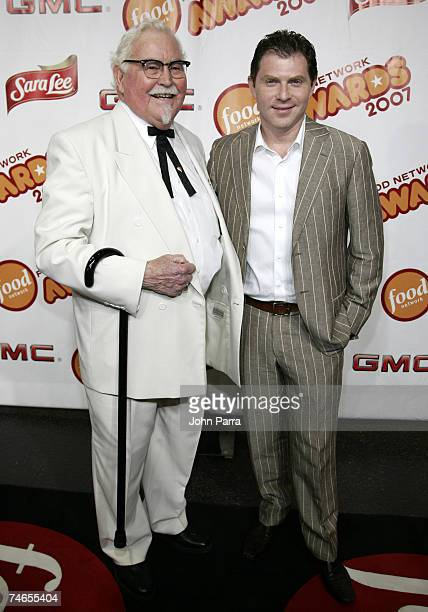 Colonel Sanders of KFC and Bobby Flay at the Jackie Gleason Theatre in Miami Beach Florida