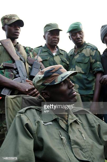 Colonel Sultani Makenga head of the rebel M23 group looks on from a hill in Bunagana a town near the Ugandan border on July 8 2012 Colonel Sultani...