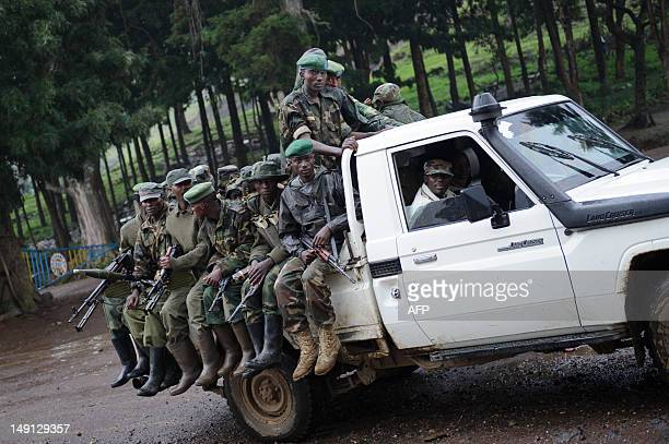 Colonel Sultani Makenga the commander of the M23 rebel group drives through the town of Bunagana in the east of the Democratic Republic of Congo on...