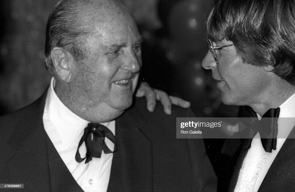 Colonel Tom Parker and singer John Denver attend Frank Sinatra Hosts 'A Valentine LoveIn Frank His Friends His Food' Gala to Benefit the Desert...