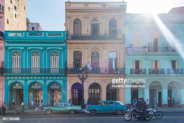 Colonial architecture Cuba Colorful colonial buildings with arches and balconies at Central Park in Havana Cuba Parque Central or Central Park is a...
