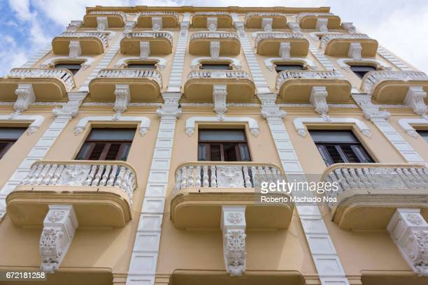 Colonial building architectural pattern at 'Plaza Vieja' or Old Square Old Havana is a Unesco World Heritage Site and a major tourist attraction in...