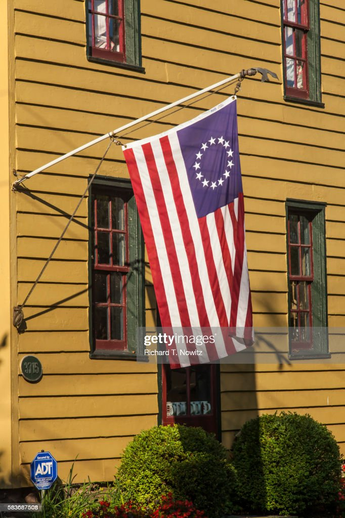 Colonial House with American Flag